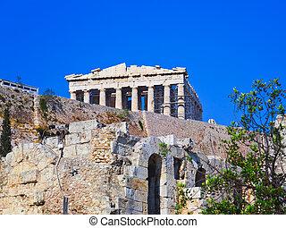 Parthenon temple in Acropolis at Athens, Greece - travel...