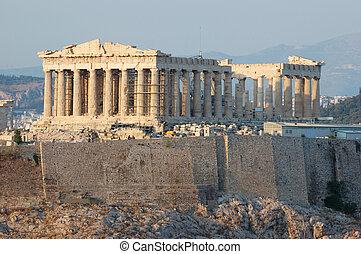 parthenon, templo, em, grécia, lugar, onde, democracia, era,...