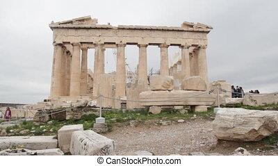 Parthenon on the Acropolis in Athens, Greece time lapse