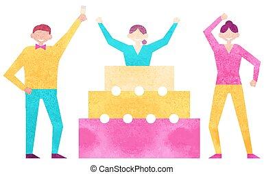 parti, överraskning, födelsedag, vänner, firande
