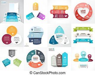 parti, avvio, idea, grafici, infographic, logotipo, processes., cuore, scale., set., presentazione, 3, passi, cerchio, triangolo, affari, opzioni, dati, diagramma, persone, frecce, chart., vettore, testa