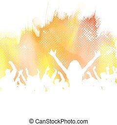 parti, bakgrund, akvarell, folkmassa
