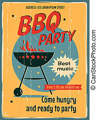 parti, barbecue, affisch