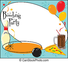 parti, bowling, lurar, inbjudan