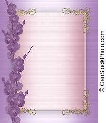 parti, bröllop inbjudan, eller, orkidéer