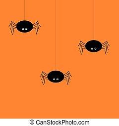 parti, concept., baner, spindel, natt, söt, halloween, bakgrund
