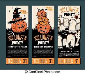parti, eller, din, halloween, lottsedlar, text., illustration, plats, template., symbols., ivrig, meny, vektor, invitation., design, årgång