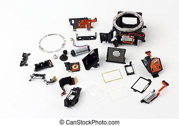 parti, esaminati, macchina fotografica, dettaglio, digitale