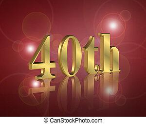 parti, födelsedag, 40th, inbjudan