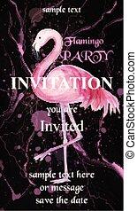 parti, flamingo, vector., fläckar, hand, akvarell måla, bakgrund, inbjudan, oavgjord, kort