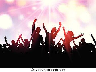 parti, folkmassa, bakgrund