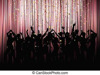 parti, folkmassa, konfetti, bakgrund