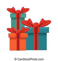 parti, gåva, tecknad film, gåva, överraskning