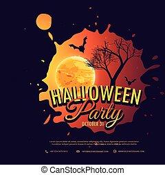 parti, halloween, design, bakgrund, illustration