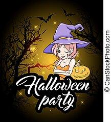 parti, halloween, design, häxa
