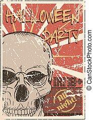parti, halloween, grunge, affisch
