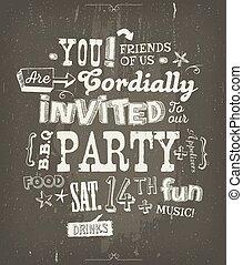 parti, inbjudan, affisch, på, chalkboard, bakgrund
