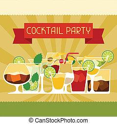 parti, inbjudan, drycken, alkohol, cocktails.