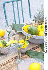 parti, inställning, trädgård tabell