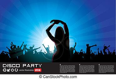 parti, kvinna, bakgrund