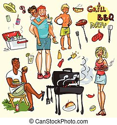 parti, lycklig, ha, barbecue, folk