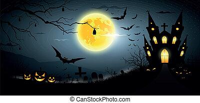 parti, lycklig, halloween, skrämmande
