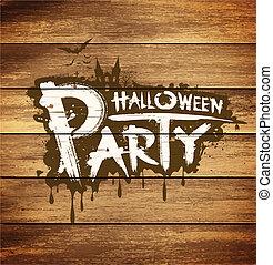 parti, meddelande, halloween, design