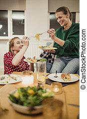 parti, middag, rosta, spagetti
