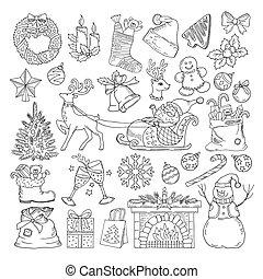 parti, olik, sätta, vinter, ikonen, collection., stil, illustration, lov, årgång, oavgjord, objects., hand, jul