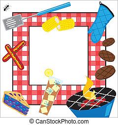 parti, picknicken, sommartid, inbjudan