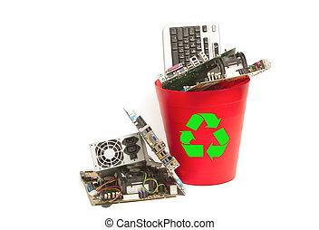 parti, riciclare, computer, elettronico, scomparto rifiuti