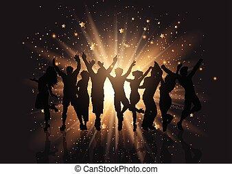 parti, starburst, bakgrund, folkmassa