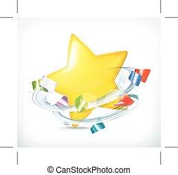 parti, stjärna, och, konfetti