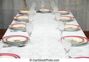 parti, tjänat, bord, restaurang