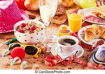 partia, śniadanie, barwny, karnawał, przybory