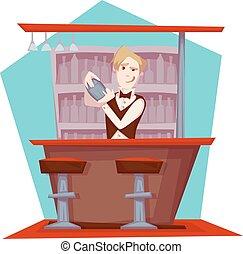 partia, barman, wektor, ilustracja, cocktail