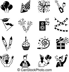 partia, biały, czarnoskóry, ikony