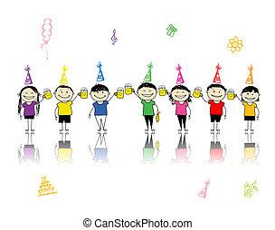 partia, frajerzy, przyjaciele, twój, urodziny, piwo, projektować