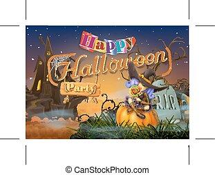 partia, halloween, szczęśliwy
