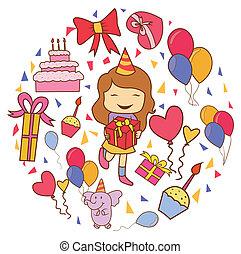 partia, koło, urodziny, chorągiew, doodle