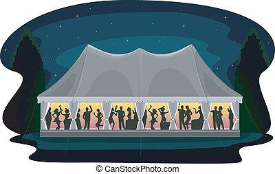 partia, namiot, przyjęcie, ślub