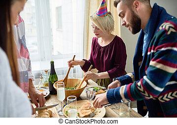 partia, obiad, przyjaciele, grupa
