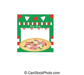 partia, pizza, afisz