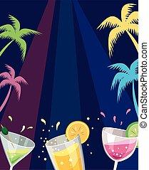 partia, plaża, barwny, pije