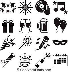 partia, set., wektor, ikony, illustrations.