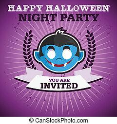 partia, szczęśliwy, halloween, zaproszenie
