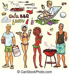 partia, szczęśliwy, posiadanie, bbq, ludzie