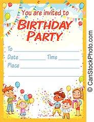 partia, urodzinowa karta, zaproszenie