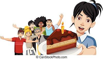 partia, urodziny, przyjaciele, cake.