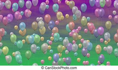 partia, video, seamless, pętla, balony